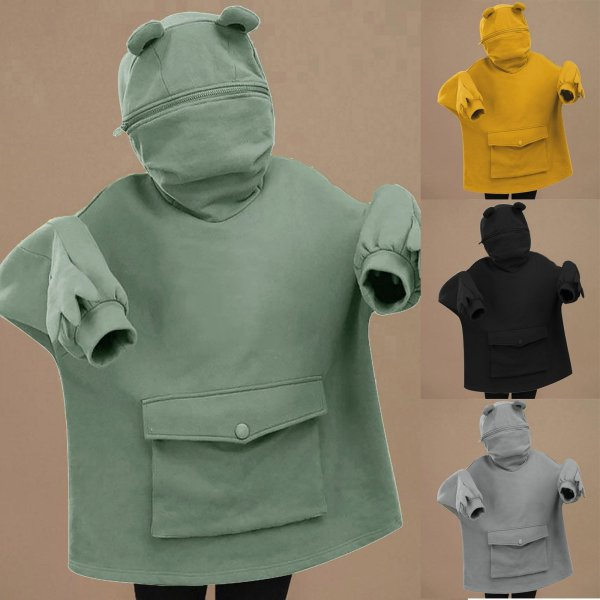 Oversized Hoodie Women Streetwear Casual Frog Printed Sweatshirt Women Winter Clothes Pullovers Tops Ropa De Mujer 2020 2