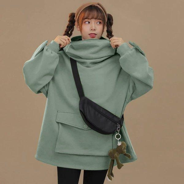 Oversized Hoodie Women Streetwear Casual Frog Printed Sweatshirt Women Winter Clothes Pullovers Tops Ropa De Mujer 2020 3