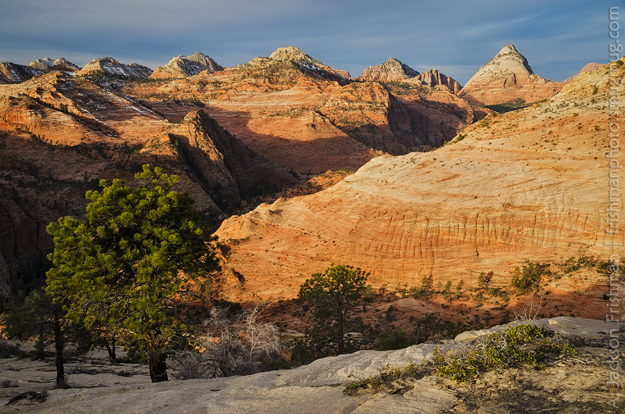 Sunrise on Bridge Mountain and the sandstone domes of the east entrance road, Zion National Park, Utah