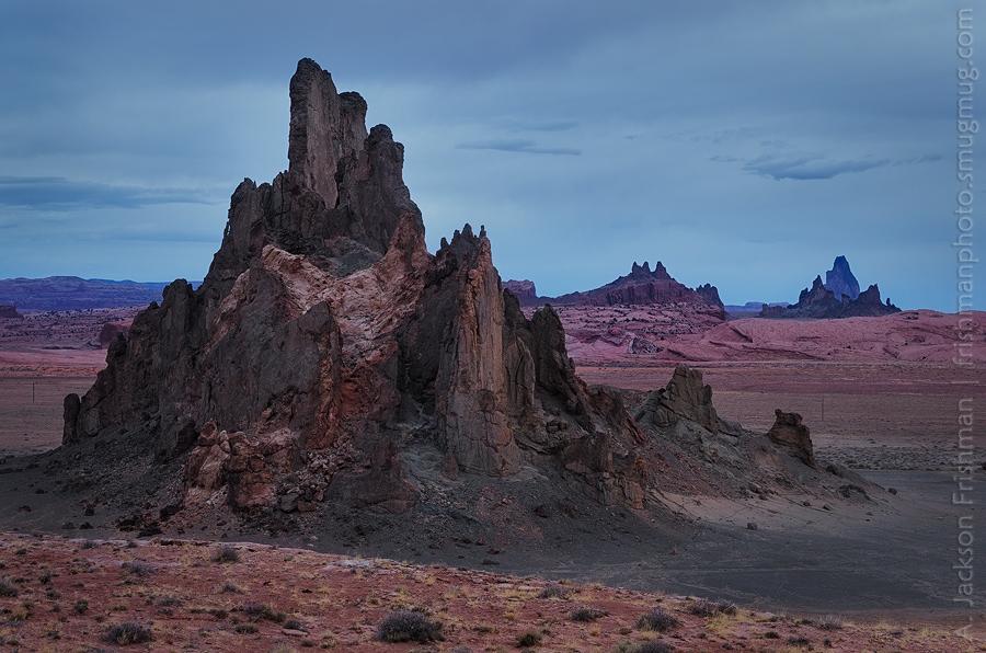Church Rock and Agathla Peak near Kayenta, Arizona
