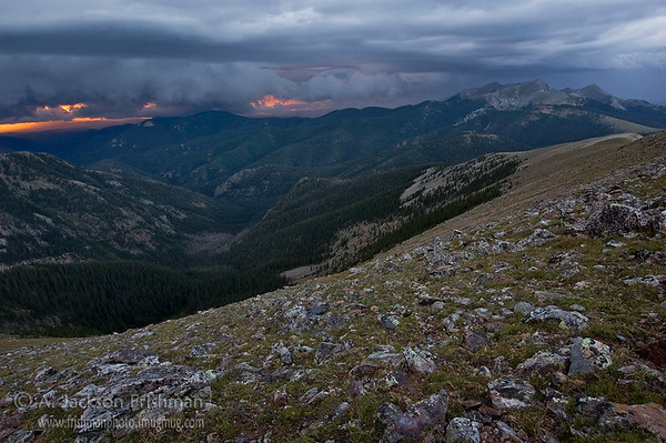 A monsoon storm blows toward the Truchas Peaks in new Mexico's Pecos Wilderness, August 2010.