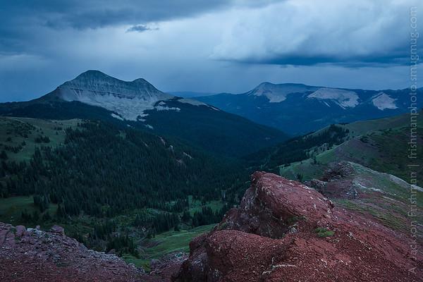 Engineer Mountain viewed from Jura Knob under evening storm, San Juan Mountains, Colorado