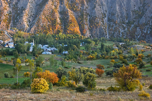 Mountain village in autumn, Bayburt Province, Northeastern Turkey.