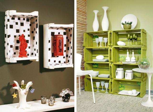 Caixotes pintados e com revestimento, usados como decoração para paredes e armário aberto para louças