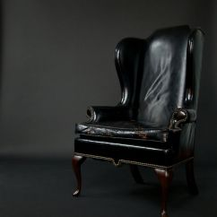 Leather Wingback Chairs Canada Chair Covers Hamilton Two Early 1940's Black – Fritz Hollander