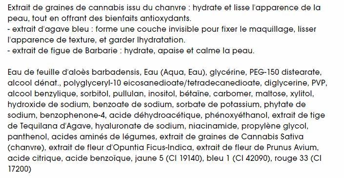 ingrédients primer hydro milk