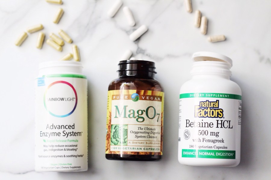 Natural Factors Betaine HCL, Pure Vegan Mag O7, Rainbow Light Advanced Enzyme System Digestive Enzymes