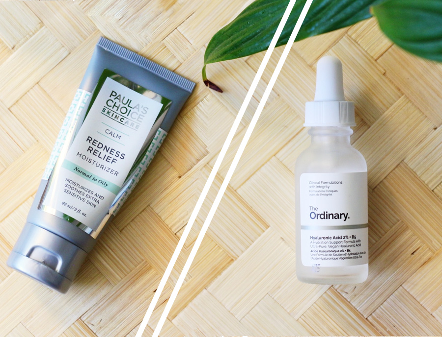 Paulas choice calm redness relief moisturizer oily and The Ordinary Hyaluronic Acid + B5