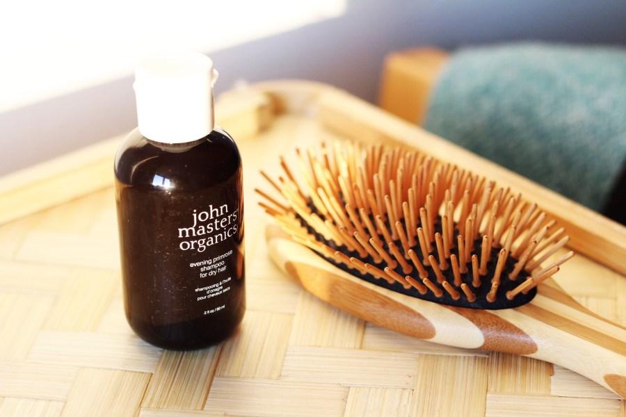 John Masters Organic Evening Primrose Shampoo and Bass Wooden Bristle Brush