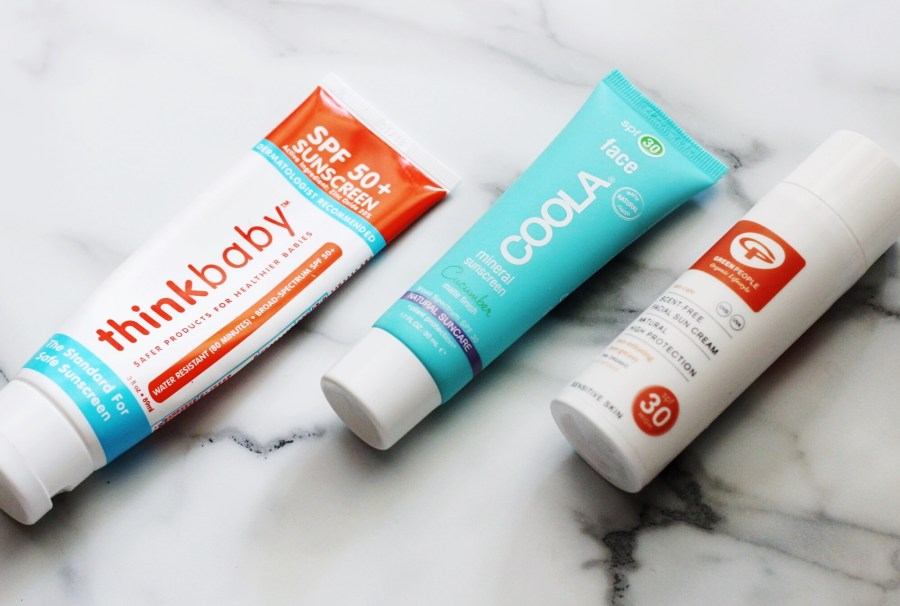 ThinkBaby SPF 50, COOLA Mineral Cucumber SPF 30, Green People Face Sun Cream SPF 30 Swatch Review