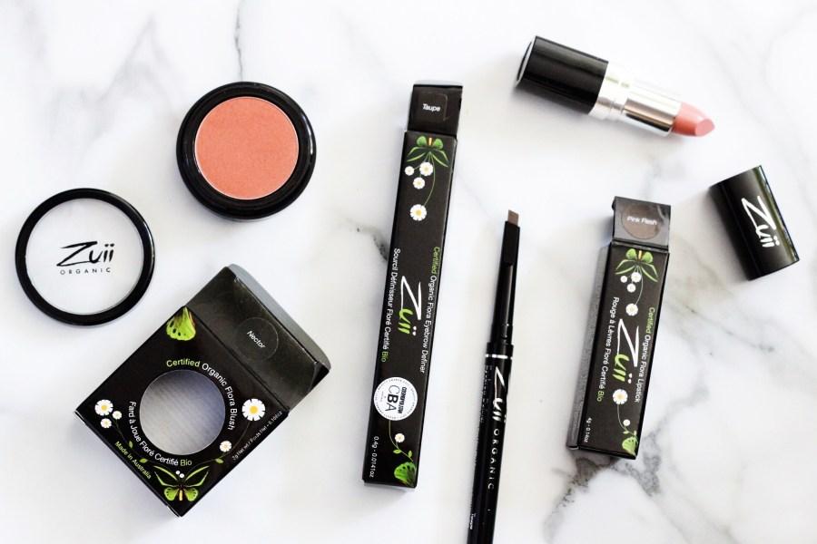 Zuii Organic Makeup Flora Blush in 'Nector', Eybrow Definer Taupe, Flora Lipstick in Pink Flesh