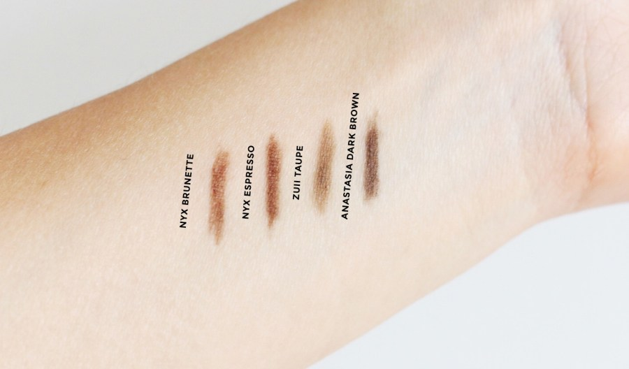 from left to right: NYX Eyebrow Pencil Brunette & Espresso, Zuii Eyebrow definer Taupe, Anastasia BrowWiz Dark Brown