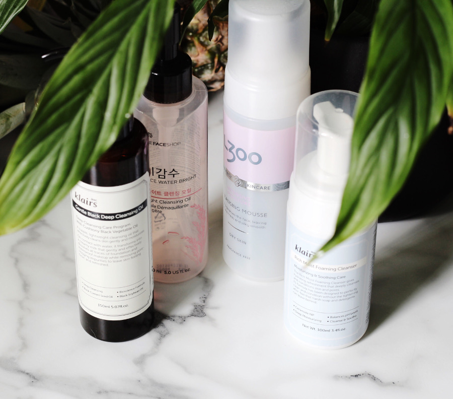 first cleanse & second cleanser: Klairs Black Cleansing Oil, The Face Shop Light Rice Cleansing Oil, Klairs Rich Moist Foaming Cleanser and L300 Moisturizing Cleansing Mousse