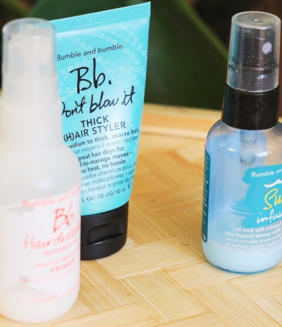 Bumble and Bumble Getaway set Oil Primer, Don't Blow It Thick, Surf Infusion Spray
