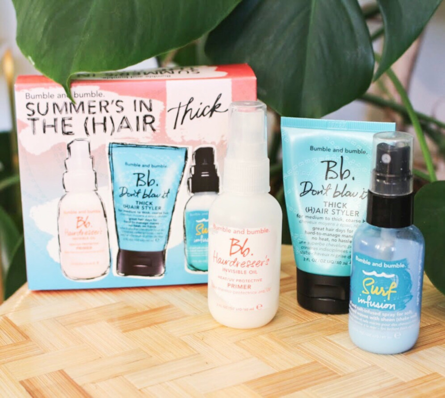 Bumble and Bumble Getaway set thick, Oil primer, Don't Blow It Thick, Surf Infusion review