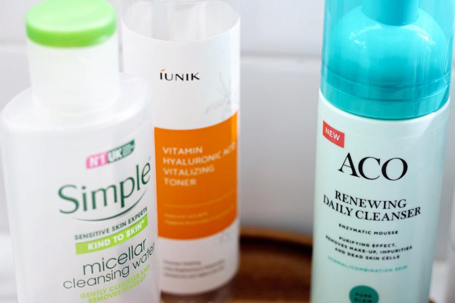 Simple Micerllar Water, iUnik Hyaluronic Acid Toner, ACO Renewing Daily Cleanser