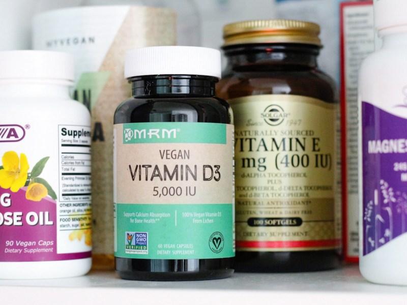iHerb MRM Vegan Vitamin D3 5000 IU, Solgar Vitmain E, DEVA Vegan Eventing Primrose