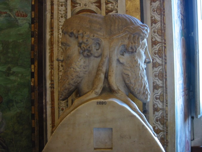 The Roman god Janus, the god of doorways and new beginnings, statue at the Vatican