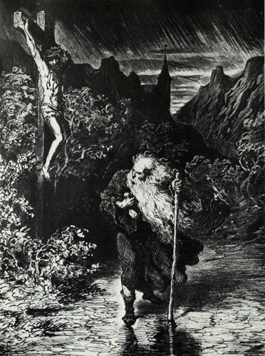 The Wandering Jew by Gustav Dore. A Medieval legend about a Jew who taunted Christ, and was then cursed to walk the earth until the second coming.