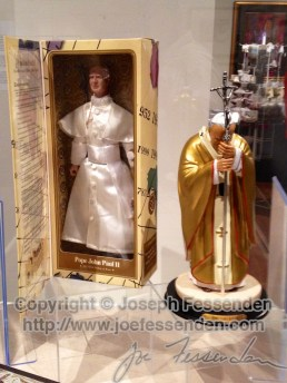 On the left: a talking Pope John Paul II action figure