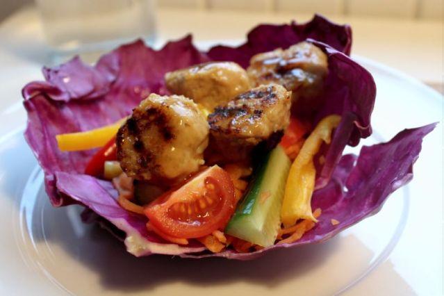sticks-n-sushi, spidskaal, kyllinge-koedboller, opskrift