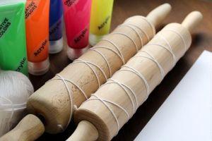 kagerulle-maling, garn, akrylmaling, kagerulle, lim