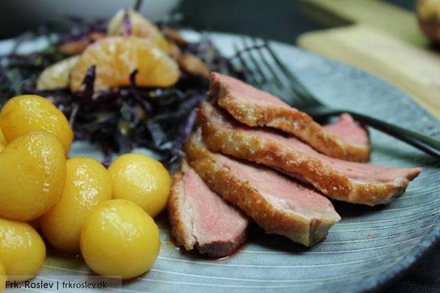 andebryst, sproedstegt-and, roedkaalssalat, salte-mandler, klementiner, opskrift