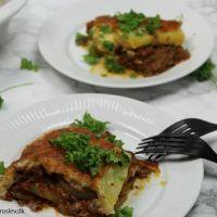 Moussaka med squash og kartofler