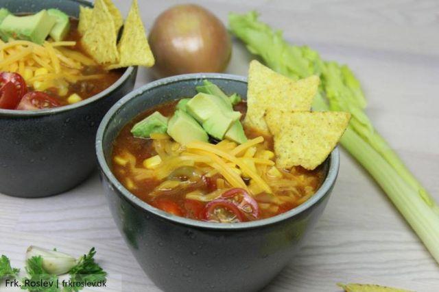 tacosuppe, suppe, mexicansk-mad, fedtfattig-aftensmad, opskrift