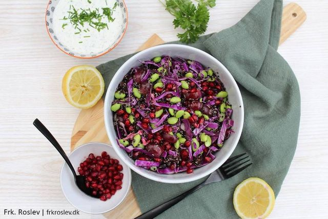 quinoasalat, salat, quinoa, tilbehoer, edamameboenner, granataeble, spidskaal, spidskål, granatæble, quinoasalat-edamame, quinoasalat-granatæble, frokost, madpakkeideer