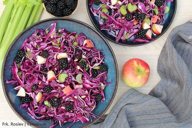 kålsalat, salat med brombær, kålsalat med brombær, efterårssalat