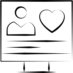 Pen drawing of a computer monitor with a man next to a heart and text underneath.