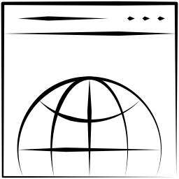 Pen drawing of a browser with a search bar and three buttons at the top and a globe outline in the center.