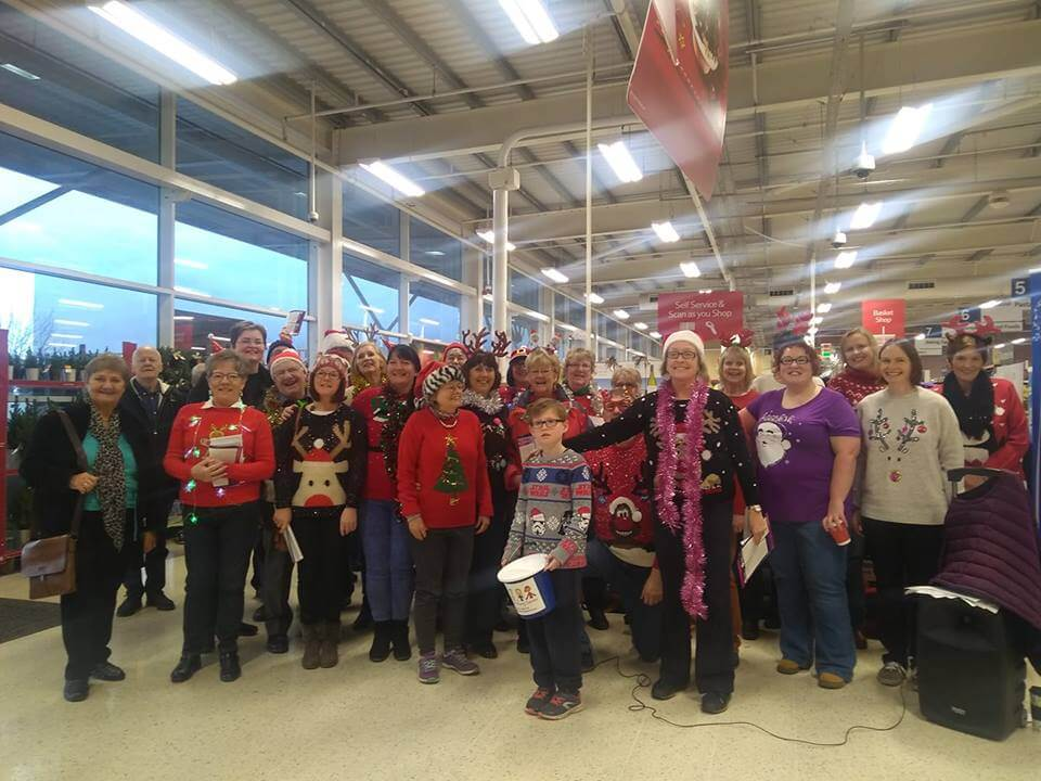 Singing at Tesco Helsby Sunday 9 December…result!