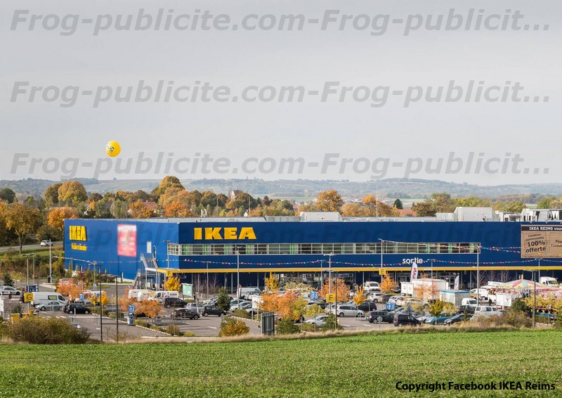 ballon publicitaire h lium de 3m50 pour ikea reims frog publicit. Black Bedroom Furniture Sets. Home Design Ideas