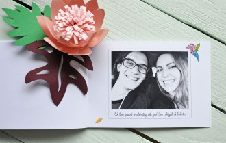 Abi & Rob Little Bespoke Book Wedding Invitation photograph page of the couple.