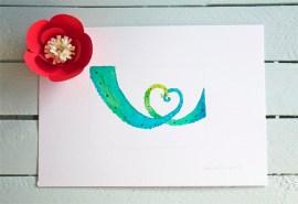 Abi & Rob's Little Bespoke Book Wedding Invitation original Chameleons tails painting
