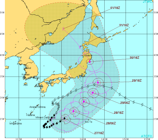 JTWCの台風10号の予想ルート