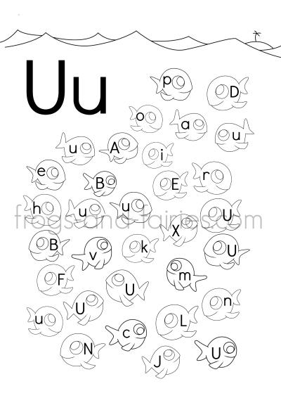 Fish Alphabet Upper & Lower Case Letter Find Worksheets