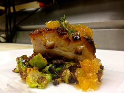 Berkshire Pork Belly Confit Bacon Fried Brussels Sprouts