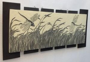 Ceramic wall tile, sgraffito carved dragonflies & grasses design