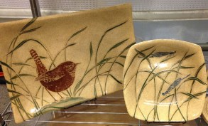 Ceramic platter and bowl, sgraffito wren and grasses motif