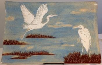 Stoneware platter, sgraffit carved egrets motif