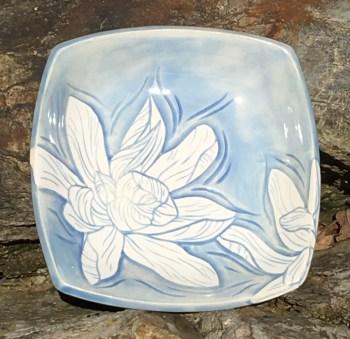 Square stoneware bowl, sgraffito carved magnolia design
