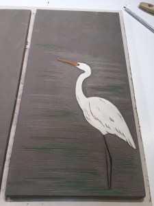 Work in process, sgraffito carved egret tile