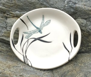 Round stoneware platter, dragonfly and grasses design
