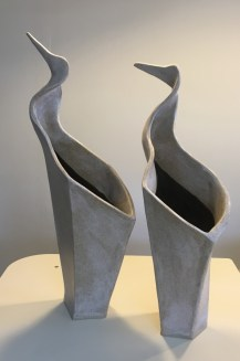 Two vases, sculptural bird forms