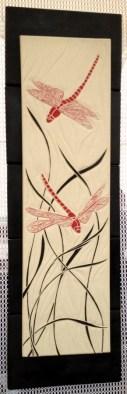 Hanging tile, sgraffito carved dragonfly and grasses design