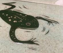 Ceramic tile, sgraffito carved frog design