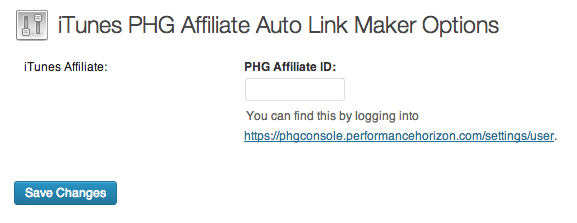 iTunes PHG Affiliate Auto Link Maker Options Page